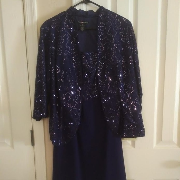 Woman Within Dresses & Skirts - Elegant Navy Blue Sequin Dress with Jacket